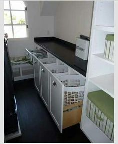 Laundry room idea!! like how this could be done on back wall and used for different piles of laundry