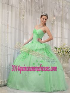 8a6515a50d6 Apple Green Ball Gown Sweetheart Quinces Dresses with Appliques and Ruches  Quince Dresses