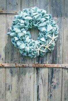 Aqua Burlap Beach Wreath with White Finger Starfish