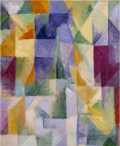 By Robert Delaunay (1885‑1941), 1912,  Windows Open Simultaneously (First Part, Third Motif), Oil paint on canvas, Tate.