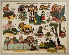 Scholz` Künstler=Aufstellbogen, Märchen. Der gestiefelte Kater. Aufstellbilder auf dickem Papier (33x43 cm) No. 66 K.