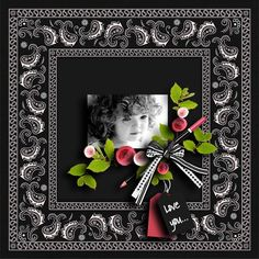 Girls... - Scrapbook.com - Love the use of black and white together. Popped with these great pink and strawberry colors, along with the lime green, makes for an absolutely stunning layout. #digital #scrapbooking