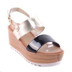 Fekete És Arany Női Telitalpú Szandál - MAGASSARKÚ SZANDÁL - Női cipő  webáruház-női csizmák 53c22179ab