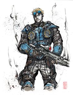 Custom commissioned piece just completed today Totally awesome character design. Really fun to draw and paint. Character from the game Gears of War. Damon Baird from Gears of War Sumie style Gears Of War, Character Concept, Concept Art, Character Design, Anime K, Fantasy Art Men, Final Fantasy, Future Soldier, Video Game Art