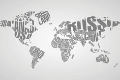 Stunning Typography World Map Mural, made to suit your wall size by the UK's No.1 for wall murals. Custom design service and express delivery available.