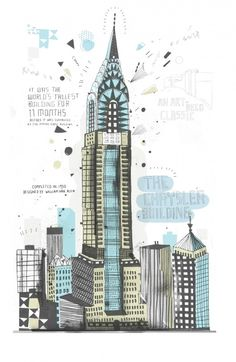 All the Buildings in New York…Drawn by Hand.  My favourite - the Chrysler Building!