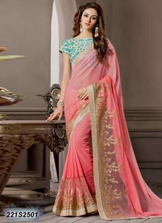 Luscious Peach Coloured Georgette Saree