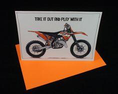 "KTM Dirt BIke 125 SX Enduro Motorcycle Card | A6 - 6"" x 4"" | Dirt Bike | > BONUS - Buy 3 Cards, Get 1 more for free by DailyBikers on Etsy"