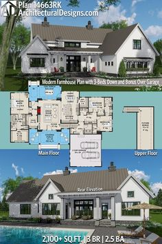 Architectural Designs Modern Farmhouse House Plan 14663RK Has 3 Beds And  2.5+ Baths And 2,100