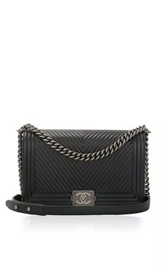 Chanel Black Herringbone Chevron Calfskin Large Boy Bag by Madison Avenue Couture for Preorder on Moda Operandi