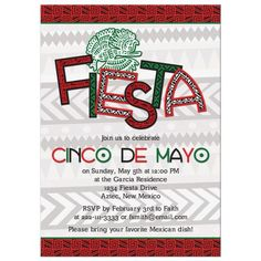 Red, green, black and white Aztec bird Mexican Cinco de Mayo fiesta invitation. Celebrate Cinco de Mayo with this Mexican themed party invitation. It features the word fiesta with Latino or Aztec patterns and Mexico's colors. This design can also be used for any other party you'd like to use a Mexican fiesta or Aztec or mayan theme for. Engagement Party Themes, Aztec Patterns, Bat Mitzvah Party, Fun Party Themes, 40th Birthday Parties, Baby Shower Themes, Red Green, Party Invitations, Bird