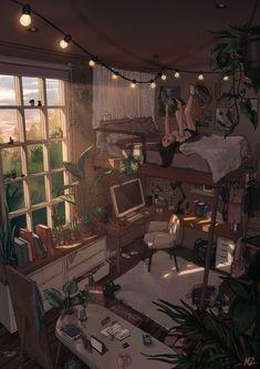 Aesthetic Room Decor, Aesthetic Art, Aesthetic Anime, Room Design Bedroom, Room Ideas Bedroom, Cosy Bedroom, Study Room Decor, Animes Wallpapers, Cute Wallpapers