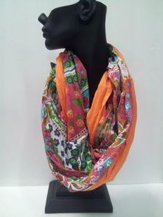 Badass Bling  » Orange Floral Infinity Scarf