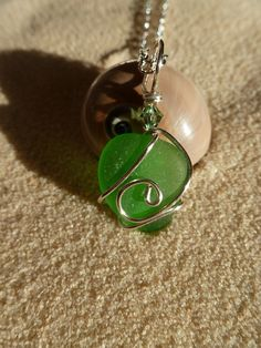 Wire wrapped green sea glass necklace with by atreasurefromthesea, $18.99
