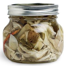 Pickled Mushrooms with Garlic and Herbs... something to do with all our shitakes popping up