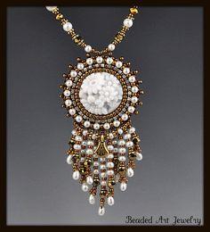 Beaded Beadwork Bead Embroidered Vintage by beadedartjewelry, $115.00