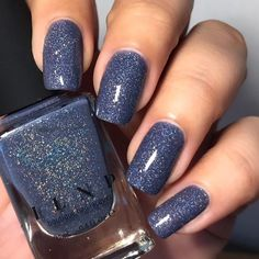 Bright Summer Acrylic Nails Discover Better Days - Muted Midnight Blue Holographic Nail Polish by ILNP Winter Nail Designs, Nail Art Designs, Nails Design, Blue Nails, My Nails, Burgundy Nails, Green Nails, Matte Nails, Bright Summer Acrylic Nails