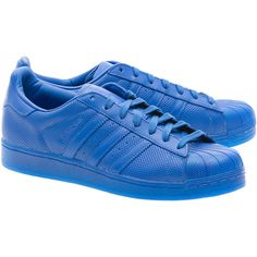 ADIDAS ORIGINALS Superstar Adicolor Blue // Flat leather sneakers ($76) ❤ liked on Polyvore featuring shoes, sneakers, 80s shoes, genuine leather shoes, adidas originals, blue shoes and 1980s shoes