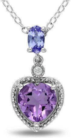 JCPenney FINE JEWELRY Amethyst, Tanzanite & Diamond-Accent Heart Pendant Necklace