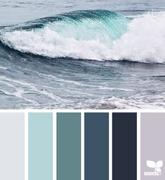 Explore Design Seeds color palettes by collection. Ocean Color Palette, Beach Color Palettes, House Color Palettes, Grey Palette, Ocean Colors, Colour Pallette, Grey Living Room Ideas Colour Palettes, Color Combinations, Color Schemes