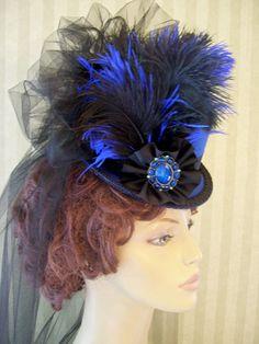Victorian Mini Top Hat Steampunk Hat Halloween Hat by MsPurdy Steampunk Top Hat, Steampunk Costume, Steampunk Clothing, Steampunk Accessories, Steampunk Fashion, Gothic Fashion, Fashion Fashion, Millinery Hats, Fascinator Hats