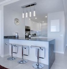 We present our guide to the 25 Best Kitchen Lighting Ideas from clean cool LED lighting to industrial pendants and everything in between! Best Kitchen Lighting, Cool Lighting, Lighting Ideas, Beautiful Kitchens, Cool Kitchens, Modern Kitchens, Decor Interior Design, Interior Decorating, How To Install Countertops