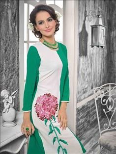 A scintillating plethora of timelsess master piece inspired by beauty. Beautiful White and Green  color kurti only at xeroshop.com