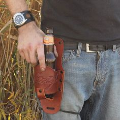 Holster Up Brown Leather Holster - How fast can you draw your beer?