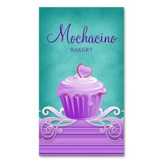 Bakery Cupcake Business Card purple swirls blue $29.95 -- click for sales!!!