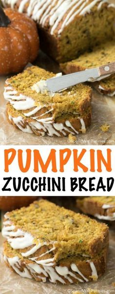 Pumpkin Zucchini Bread with Cream Cheese Glaze is loaded with pumpkin and zucchini accompanied by just the right amount of chocolate chips and just a hint of cinnamon all. Pumpkin Zucchini Bread, Zucchini Bread Muffins, Gluten Free Zucchini Bread, Chocolate Chip Zucchini Bread, Zucchini Bread Recipes, Keto Bread, Zucchini Desserts, Pumpkin Cream Cheese Bread, Healthy Pumpkin Bread