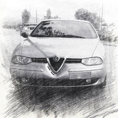 That's Dimitris' Alfa Romeo 156 sketched! Alfa Romeo Logo, Alfa Romeo 156, Old Friends, Badge, Transportation, Greece, Sketches, Posters, Concept