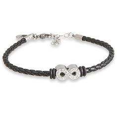 """Connections from Hallmark Clear Crystal Stainless Steel Infinity Braided Bracelet, 7"""" with 1.5"""" Extender"""