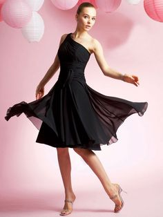 Black chiffon one strap tea length spring bridesmaid dress - Bridesmaid Dresses - Wedding Party Dresses