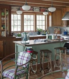 The rustic wood look, plus turquoise/teal... minus the lack of counter space, YES!