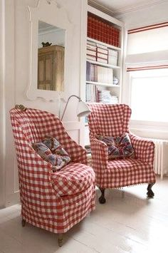 Love these red gingham chairs! Someday I want my living room to have these chairs and lots of red and blue gingham in my home! Decor, Furniture, Room, House, Interior, Home, White Decor, Interior Design, Red Cottage