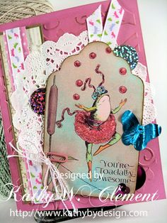 You're Toadally Awesome card using tag from Crafty Secrets Frogs in Love 2 page digital download.