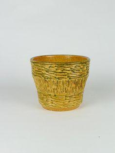 Blumentopf, Pflanzentopf, vintage Übertopf mit Bambusdekor, Reliefdekor, german pottery, Keramiktopf, 60er Jahre, flower pot