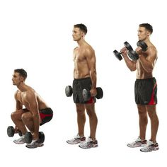 5 Squat to bicep curl Works: quads, biceps, abs Biceps increase your pulling power – but make up only 3% of your muscle mass, so rope in your legs to boost calorie-burn. Stand feet apart with a dumb-bell in each hand. Squat until your thighs are parallel to the floor. Straighten your knees to rise up. Curl the weights to up to shoulder height. Dual exercises save time and work you harder – getting you fit, quicker.
