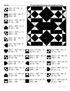 Evaluating Functions Color Worksheet Algebra Pinterest