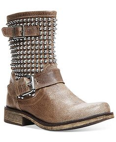 Brown studded leather boots