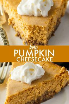 Keto Pumpkin Cheesecake – Rich and creamy! Enjoy this easy keto dessert guilt-free. Each bite is pure pumpkin heaven. Keto Pumpkin Cheesecake – Rich and creamy! Enjoy this easy keto dessert guilt-free. Each bite is pure pumpkin heaven. Pumpkin Cheesecake Recipes, Keto Cheesecake, Pumpkin Recipes, Keto Pumpkin Pie, Pumpkin Puree, Dessert Ricotta, Dessert Mousse, Keto Friendly Desserts, Low Carb Desserts