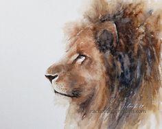 lion painting of lion Print lion art PRINT lion PRINT watercolour painting african wall decor room decor lion Wall art nursery artwork 11x14 on Etsy, $18.50
