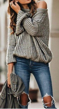 #fall #outfits women's gray sweater and blue distressed jeans outfit