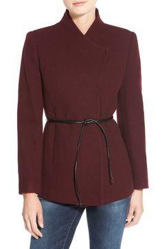 Image result for burgundy mandarin blazer belted