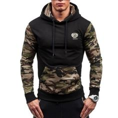 Jamickiki 2018 New Autumn and Spring Men's New Design Hooded Jacket Contrast Color Slim Fit Camouflage Hoodies, Jacket Purpose Tour Hoodie, Fleece Pullover, Moda Casual, Mens Sweatshirts, Men's Hoodies, Mens Clothing Styles, Slim Fit, Streetwear Fashion, Hooded Jacket