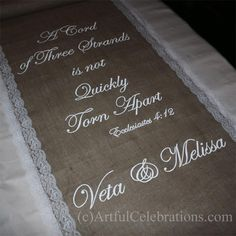 Burlap aisle runner with lace, hand painted quote, custom and ...