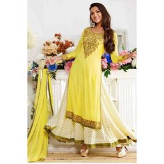 Gauhar Khan (also known as Gauahar Khan) is an Indian model and actress. gauhar khan in anarkali suit, Photos, Biography, Videos and Wallpapers. Gauhar Khan profile on SKBMART.com  Enthralling Yellow And Off White Anarkali Suit styled by beautiful Gauhar Khan. This ravishing attire is amazingly embellished with golden resham embroidred floral patch pattern on yoke, sleeves and border.