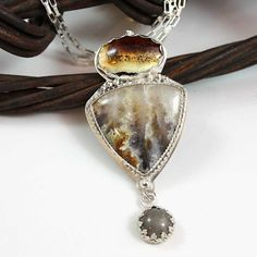 GUARDIAN Owl Montana Agate, Graveyard Point Plume and fused glass cabochon Sterling Silver Necklace
