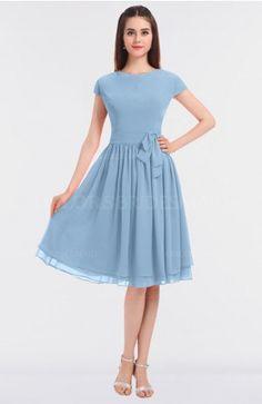 Sky Blue Modest A-line Short Sleeve Zip up Flower Bridesmaid Dresses