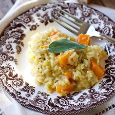 Flavorful Butternut Squash Risotto with sage, thyme, gruyere and parmesan.  Sure to be a staple during the cold weather months.